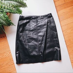 NWOT Ann Taylor black leather mini skirt size 4